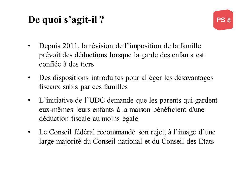 De quoi sagit-il ? Depuis 2011, la révision de limposition de la famille prévoit des déductions lorsque la garde des enfants est confiée à des tiers D