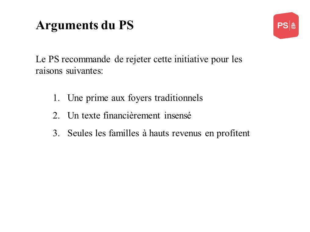 Arguments du PS Le PS recommande de rejeter cette initiative pour les raisons suivantes: 1.Une prime aux foyers traditionnels 2.Un texte financièrement insensé 3.Seules les familles à hauts revenus en profitent