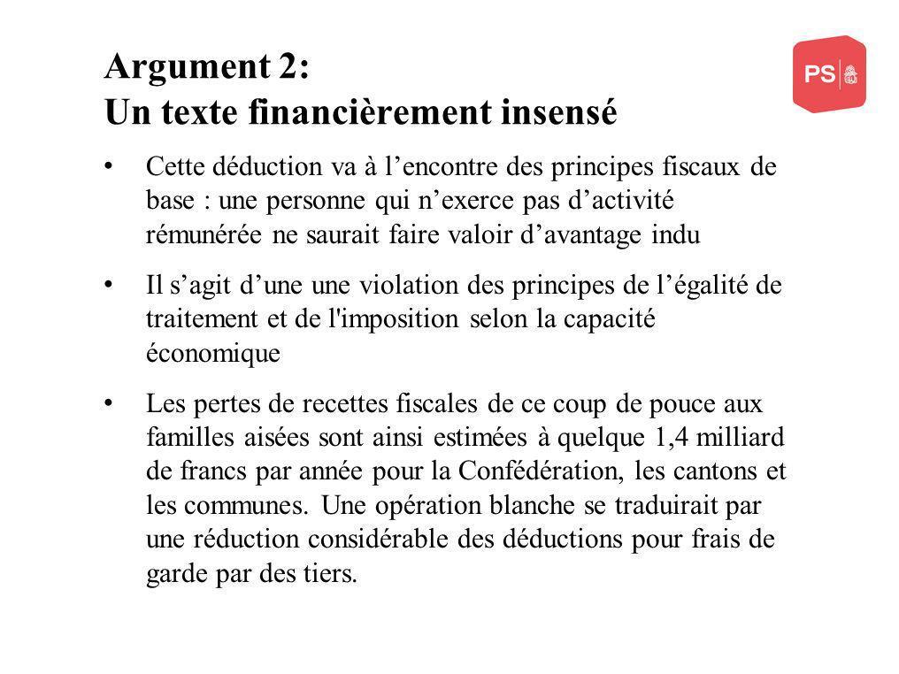 Argument 2: Un texte financièrement insensé Cette déduction va à lencontre des principes fiscaux de base : une personne qui nexerce pas dactivité rému