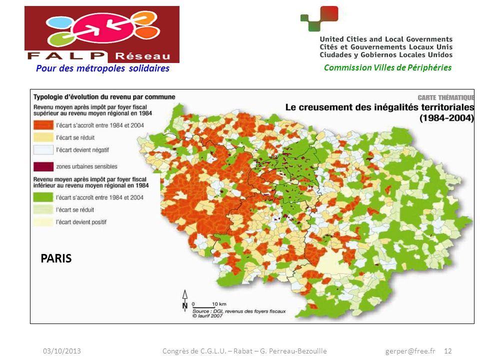 Pour des métropoles solidaires Commission Villes de Périphéries PARIS 03/10/2013 Congrès de C.G.L.U.