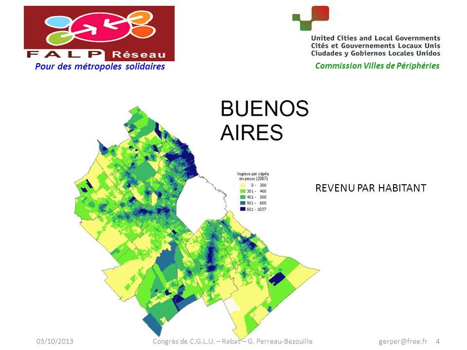 Pour des métropoles solidaires Commission Villes de Périphéries REVENU PAR HABITANT 03/10/2013 Congrès de C.G.L.U.