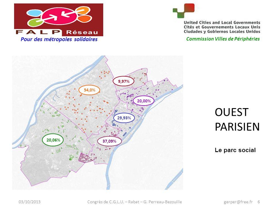 Pour des métropoles solidaires Commission Villes de Périphéries OUEST PARISIEN 54,0% 9,97% 20,00% 29,93% 37,09% 20,06% Le parc social 03/10/2013 Congrès de C.G.L.U.