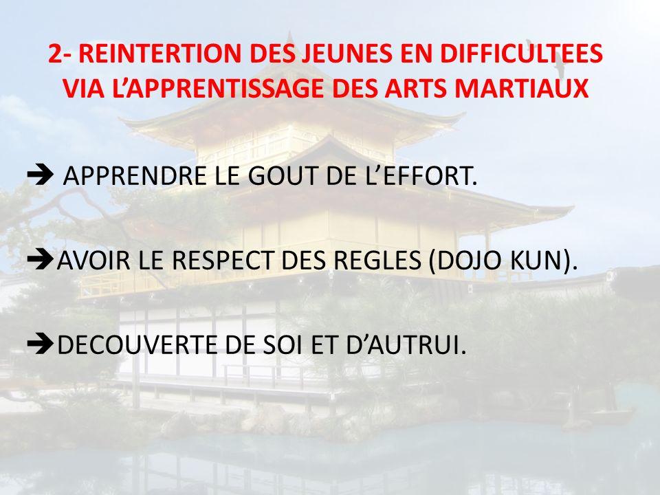 APPRENDRE LE GOUT DE LEFFORT. AVOIR LE RESPECT DES REGLES (DOJO KUN). DECOUVERTE DE SOI ET DAUTRUI.