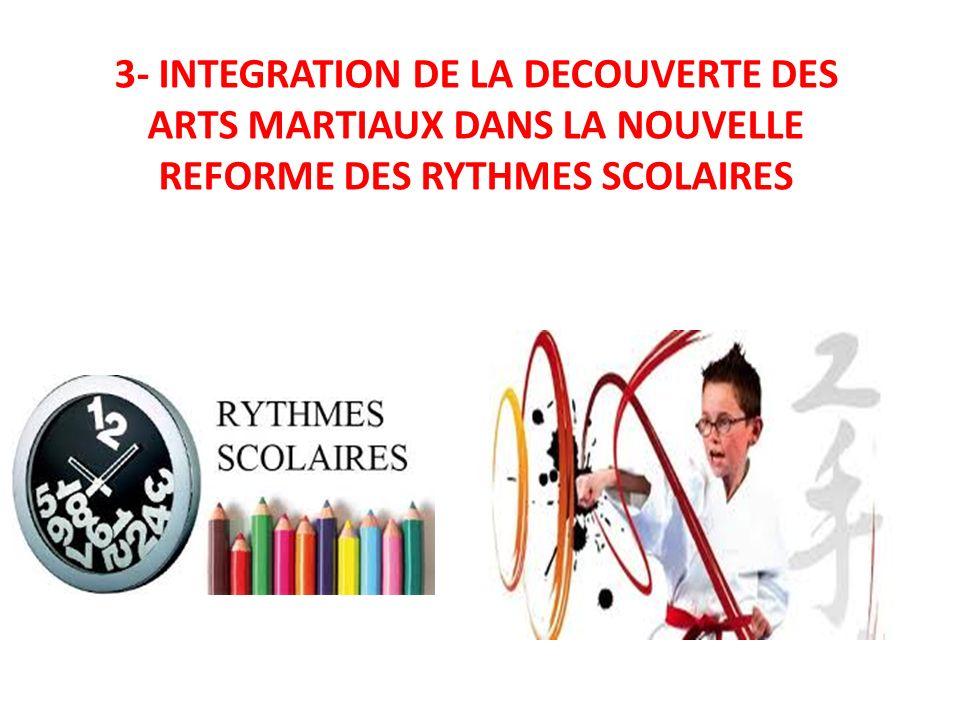 3- INTEGRATION DE LA DECOUVERTE DES ARTS MARTIAUX DANS LA NOUVELLE REFORME DES RYTHMES SCOLAIRES
