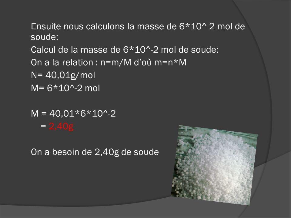 2 ème étape : Calcul de la masse de 1,6*10^-2mol de glucose Comme pour lhydroxyde de sodium nous devons savoir sa masse moléculaire donc: Calcul de la masse moléculaire du glucose On a la relation: M(C 6 H 12 O 6 ) = 6*M(C) +12*M(H) +6*M(O) M(C) = 12,0 g/mol M(H) = 1,01 g/mol M(O) = 16,0 g/mol M(C 6 H 12 O 6 ) = 6*12,0 + 1,01*12 + 16,0*6 = 180,12 g/mol