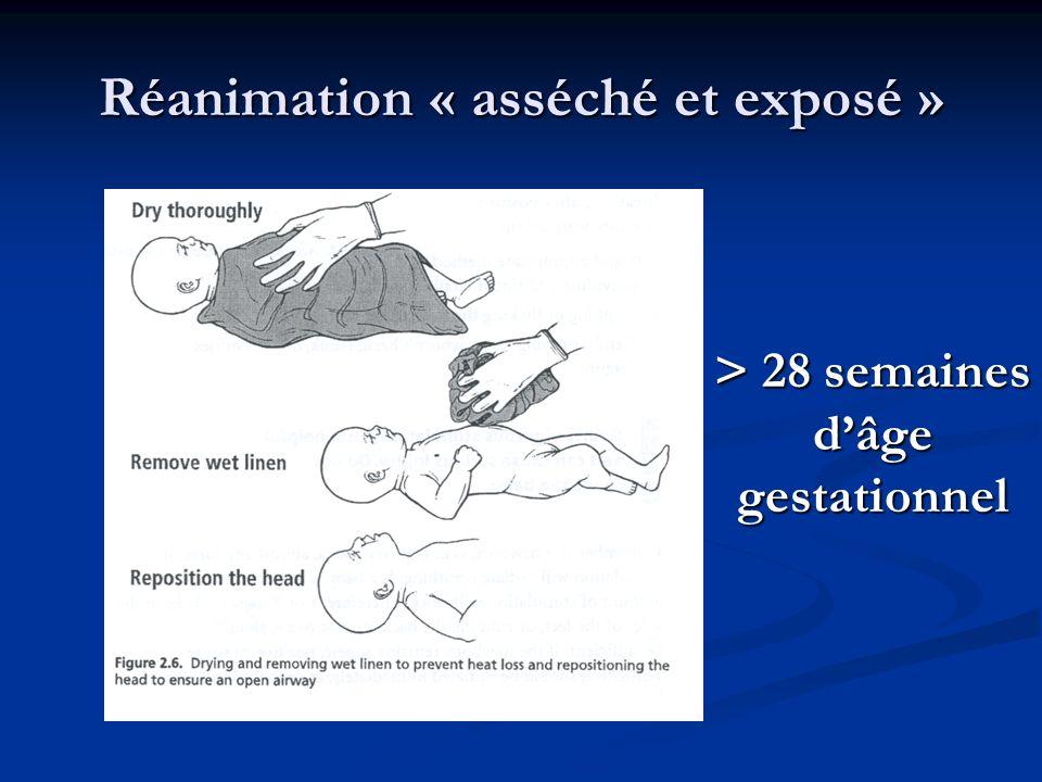 Réanimation « asséché et exposé » > 28 semaines dâge gestationnel