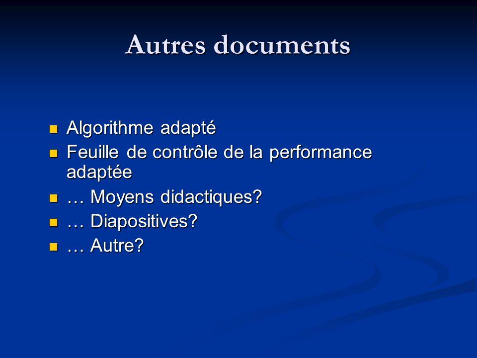Algorithme adapté Algorithme adapté Feuille de contrôle de la performance adaptée Feuille de contrôle de la performance adaptée … Moyens didactiques?