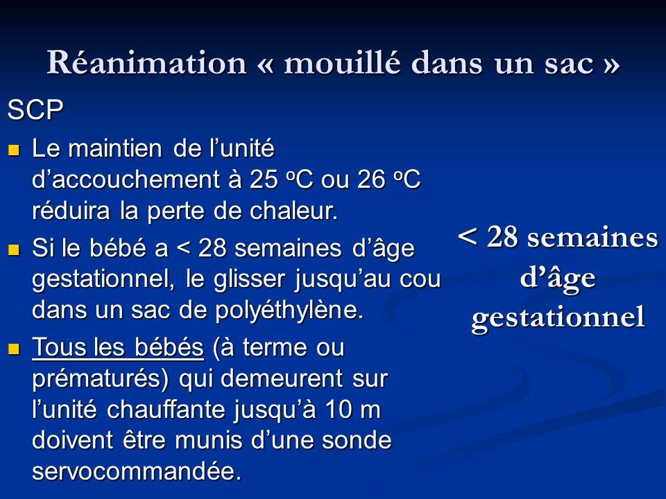 Réanimation « mouillé dans un sac » < 28 semaines dâge gestationnel SCP Le maintien de lunité daccouchement à 25 o C ou 26 o C réduira la perte de cha