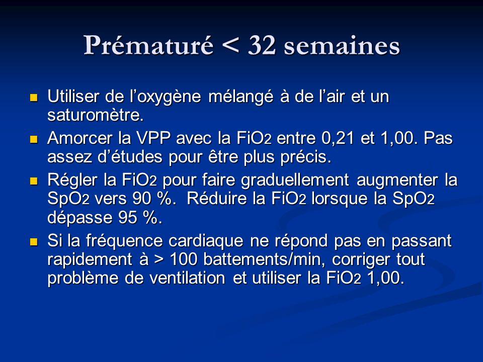 Prématuré < 32 semaines Utiliser de loxygène mélangé à de lair et un saturomètre. Utiliser de loxygène mélangé à de lair et un saturomètre. Amorcer la