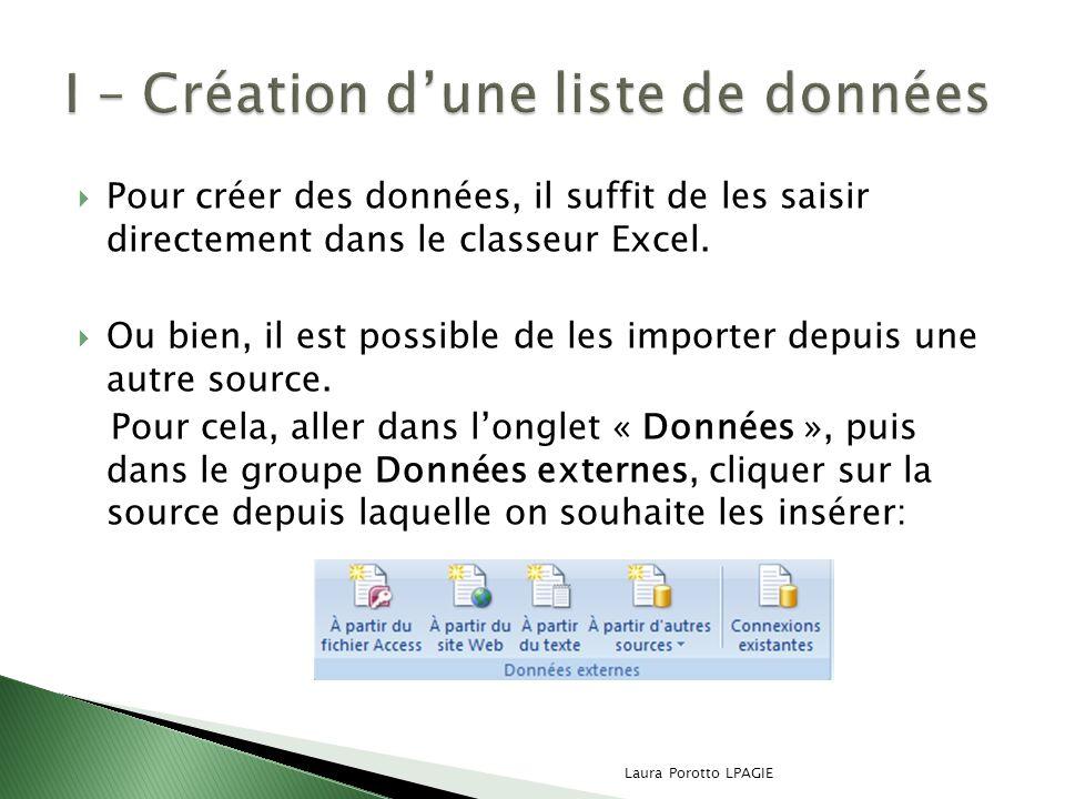 Pour créer des données, il suffit de les saisir directement dans le classeur Excel. Ou bien, il est possible de les importer depuis une autre source.