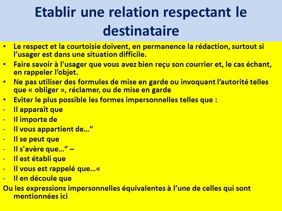 Etablir une relation respectant le destinataire Le respect et la courtoisie doivent, en permanence la rédaction, surtout si lusager est dans une situa
