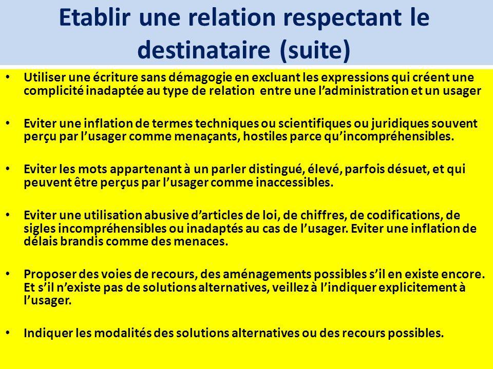 Etablir une relation respectant le destinataire (suite) Utiliser une écriture sans démagogie en excluant les expressions qui créent une complicité ina