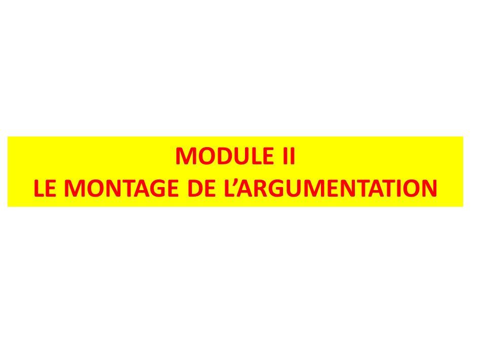 MODULE II LE MONTAGE DE LARGUMENTATION