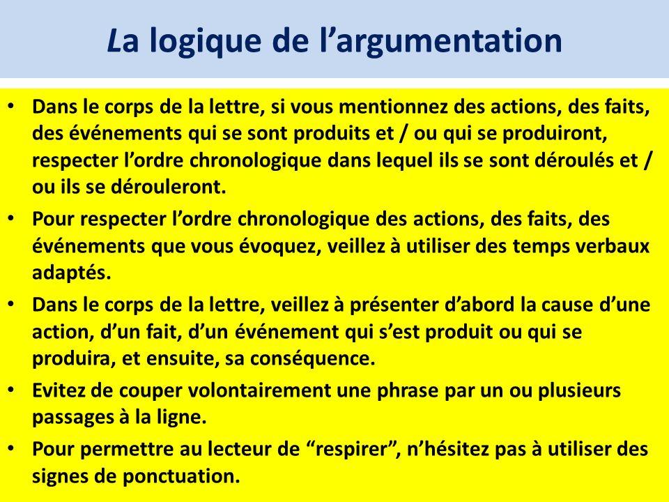 La logique de largumentation Dans le corps de la lettre, si vous mentionnez des actions, des faits, des événements qui se sont produits et / ou qui se