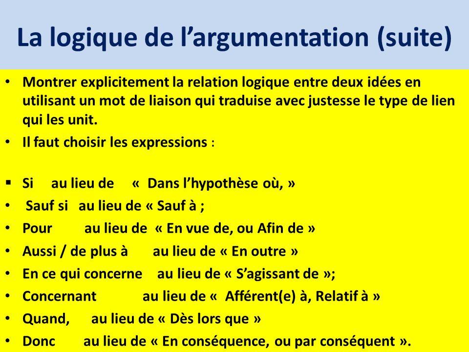 La logique de largumentation (suite) Montrer explicitement la relation logique entre deux idées en utilisant un mot de liaison qui traduise avec juste