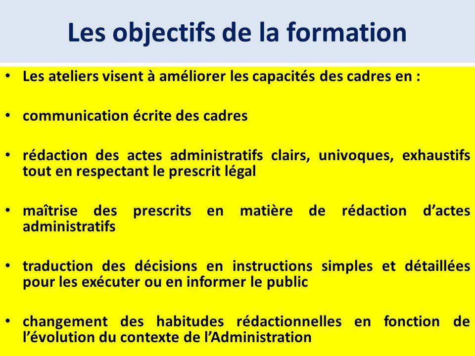 Les objectifs de la formation Les ateliers visent à améliorer les capacités des cadres en : communication écrite des cadres rédaction des actes admini