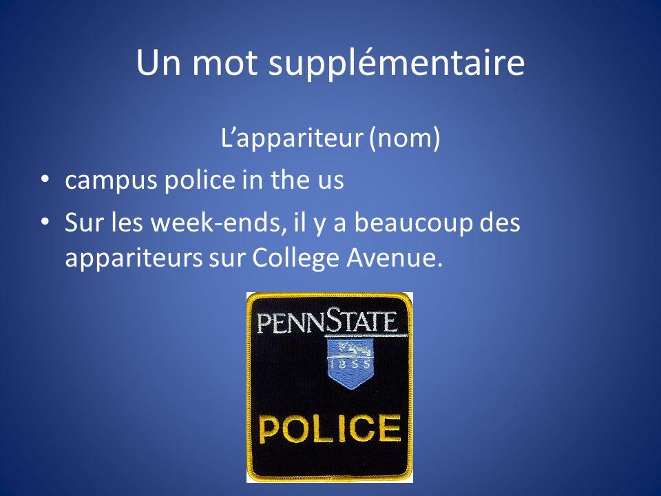 Un mot supplémentaire Lappariteur (nom) campus police in the us Sur les week-ends, il y a beaucoup des appariteurs sur College Avenue.
