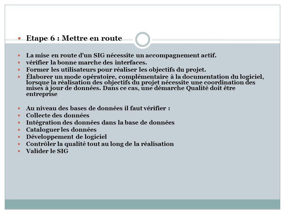 Etape 6 : Mettre en route La mise en route d'un SIG nécessite un accompagnement actif. vérifier la bonne marche des interfaces. Former les utilisateur