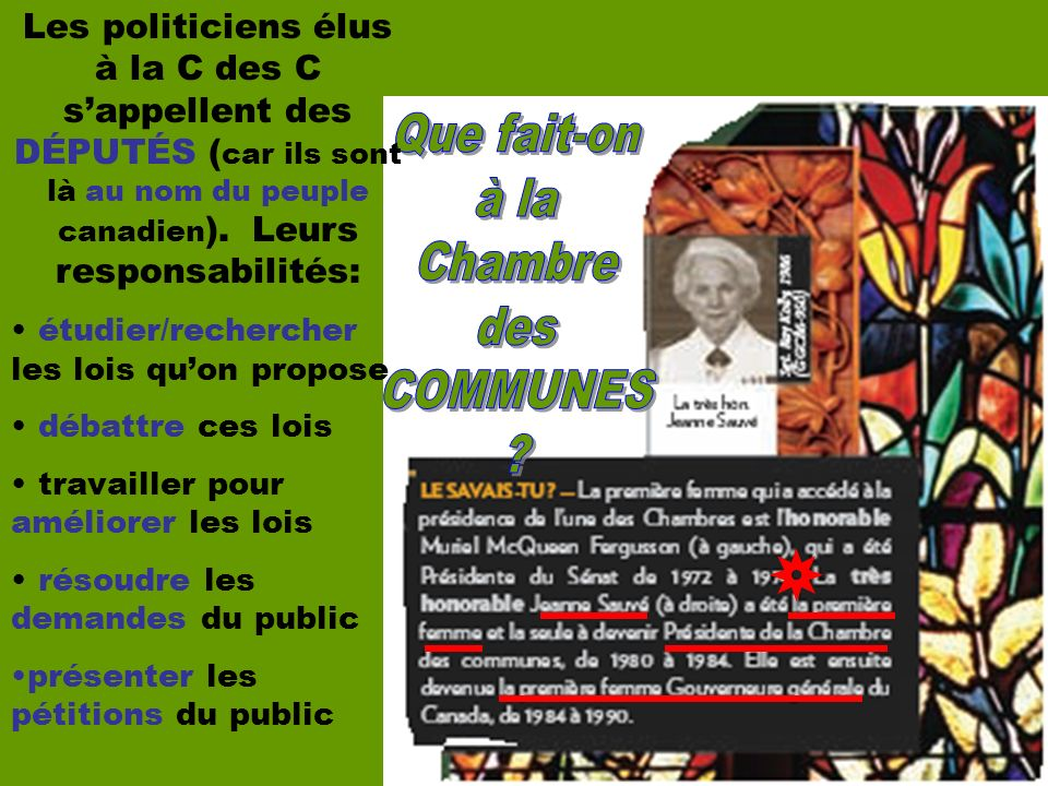 Les politiciens élus à la C des C sappellent des DÉPUTÉS ( car ils sont là au nom du peuple canadien ).