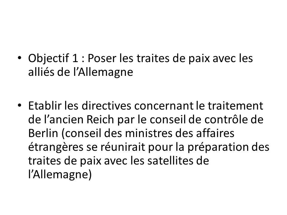Objectif 1 : Poser les traites de paix avec les alliés de lAllemagne Etablir les directives concernant le traitement de lancien Reich par le conseil d