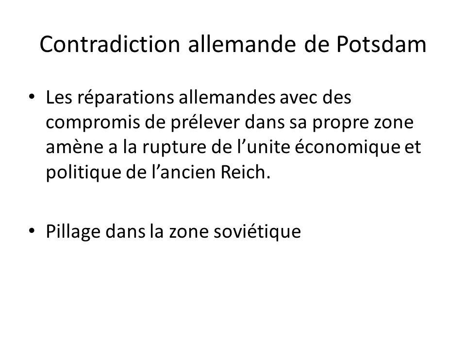 Contradiction allemande de Potsdam Les réparations allemandes avec des compromis de prélever dans sa propre zone amène a la rupture de lunite économique et politique de lancien Reich.