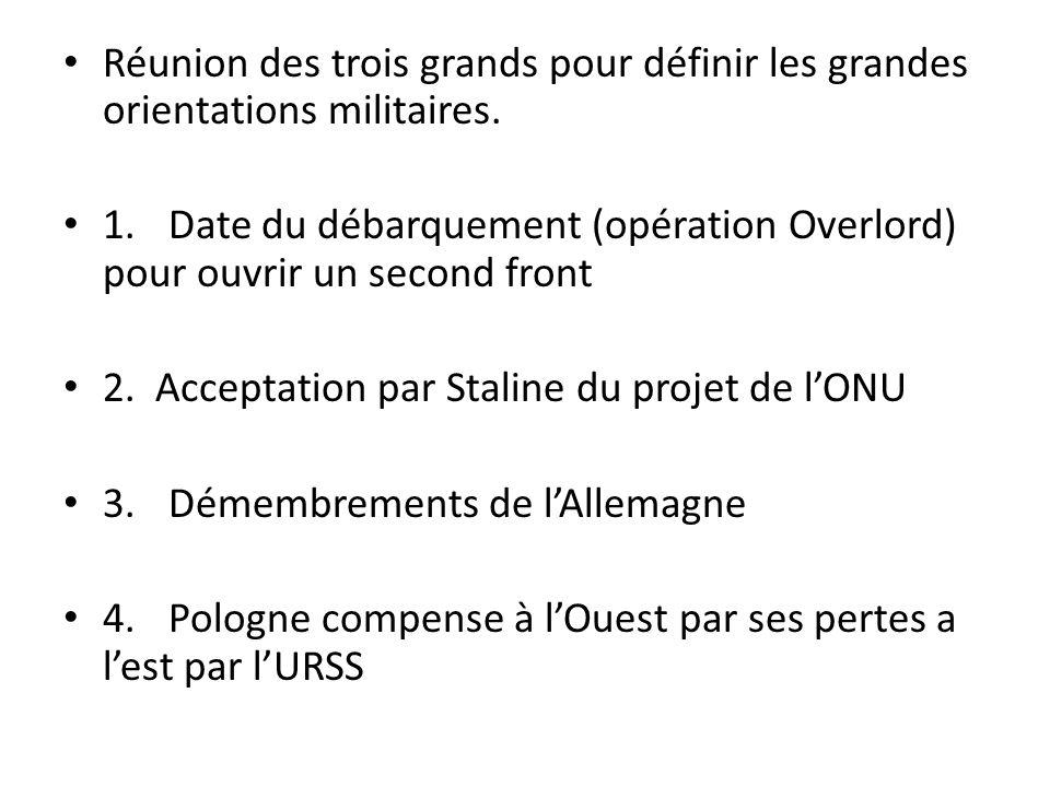 Réunion des trois grands pour définir les grandes orientations militaires. 1.Date du débarquement (opération Overlord) pour ouvrir un second front 2.