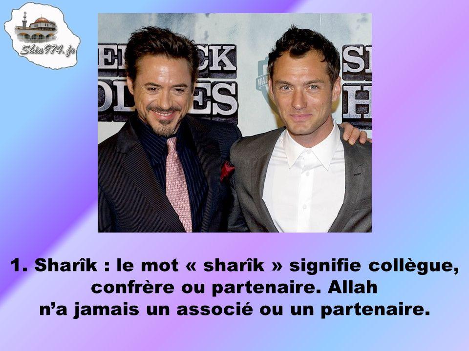 1. Sharîk : le mot « sharîk » signifie collègue, confrère ou partenaire.