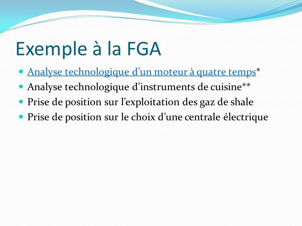 Exemple à la FGA Analyse technologique dun moteur à quatre temps* Analyse technologique dun moteur à quatre temps Analyse technologique dinstruments d