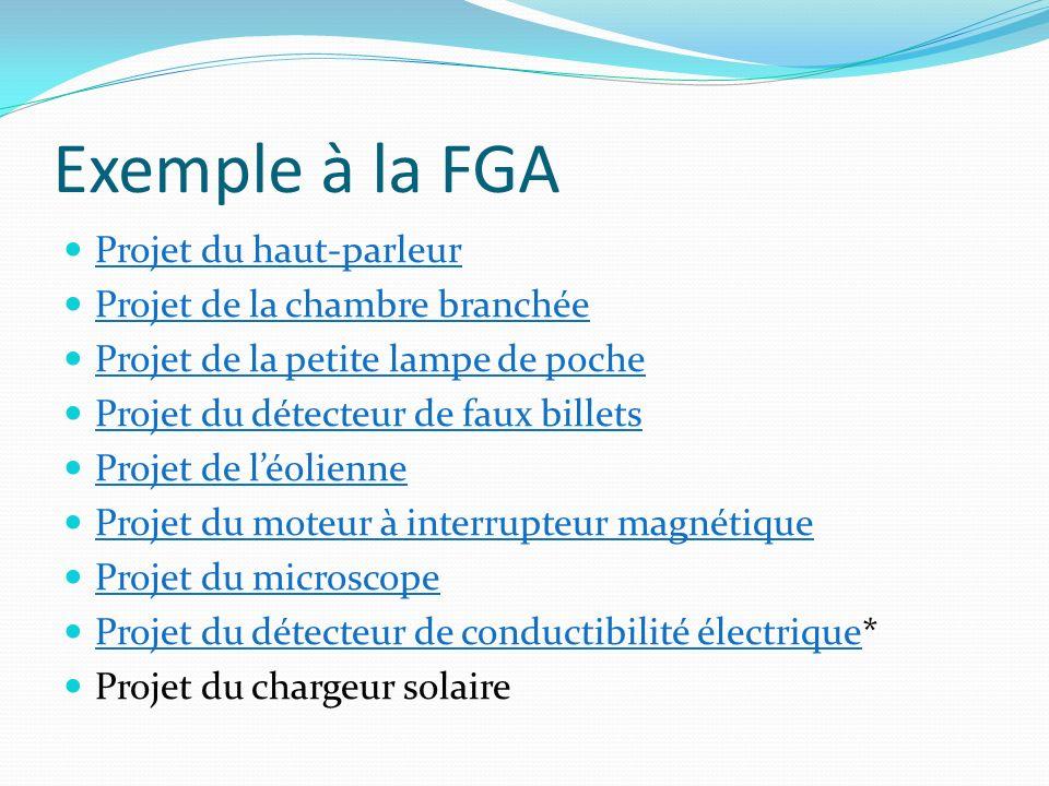 Exemple à la FGA Projet du haut-parleur Projet de la chambre branchée Projet de la petite lampe de poche Projet du détecteur de faux billets Projet de
