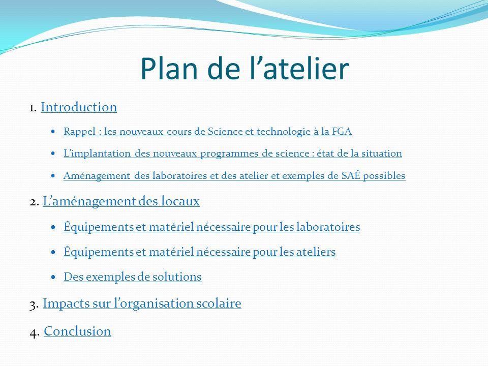 Plan de latelier 1. IntroductionIntroduction Rappel : les nouveaux cours de Science et technologie à la FGA Limplantation des nouveaux programmes de s