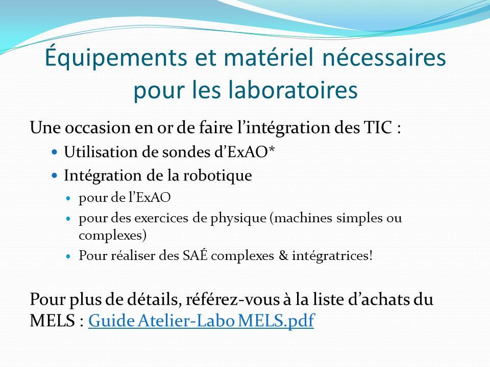 Équipements et matériel nécessaires pour les laboratoires Une occasion en or de faire lintégration des TIC : Utilisation de sondes dExAO* Intégration