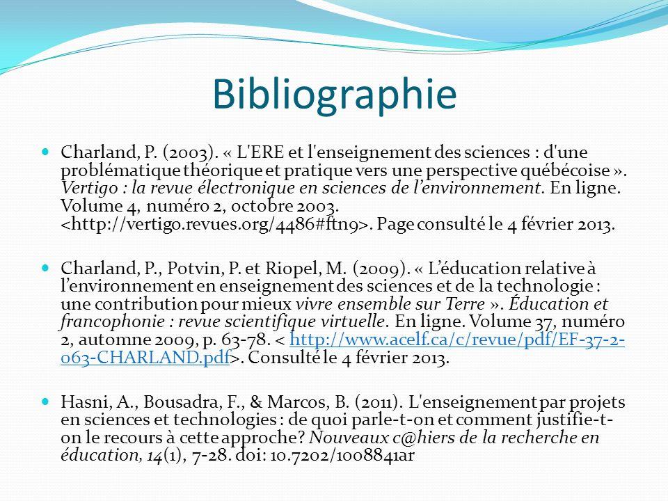 Bibliographie Charland, P. (2003). « L'ERE et l'enseignement des sciences : d'une problématique théorique et pratique vers une perspective québécoise