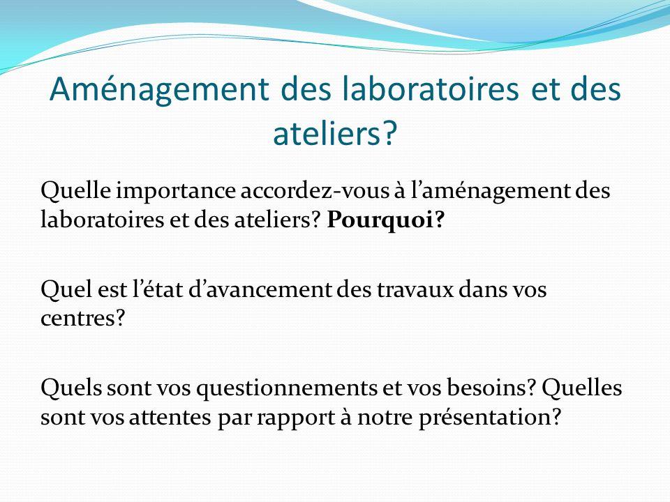 Quelle importance accordez-vous à laménagement des laboratoires et des ateliers? Pourquoi? Quel est létat davancement des travaux dans vos centres? Qu