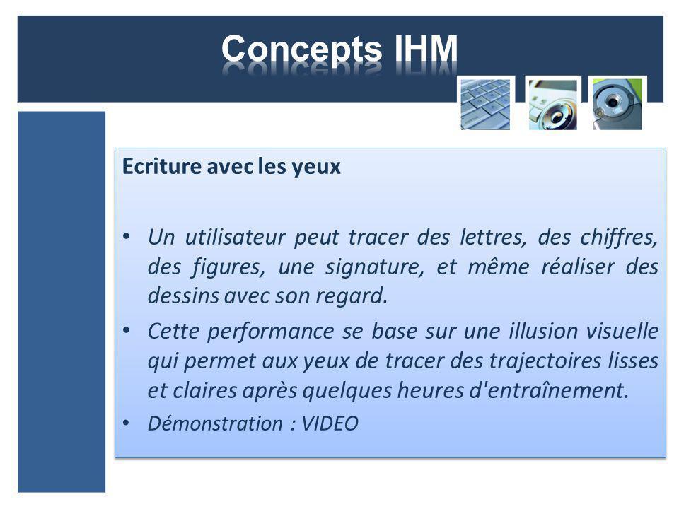 Ecriture avec les yeux Un utilisateur peut tracer des lettres, des chiffres, des figures, une signature, et même réaliser des dessins avec son regard.
