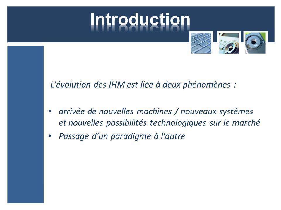 L évolution des IHM est liée à deux phénomènes : arrivée de nouvelles machines / nouveaux systèmes et nouvelles possibilités technologiques sur le marché Passage d un paradigme à l autre