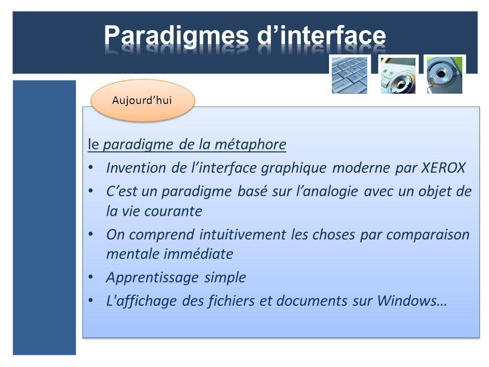 le paradigme de la métaphore Invention de linterface graphique moderne par XEROX Cest un paradigme basé sur lanalogie avec un objet de la vie courante On comprend intuitivement les choses par comparaison mentale immédiate Apprentissage simple L affichage des fichiers et documents sur Windows… le paradigme de la métaphore Invention de linterface graphique moderne par XEROX Cest un paradigme basé sur lanalogie avec un objet de la vie courante On comprend intuitivement les choses par comparaison mentale immédiate Apprentissage simple L affichage des fichiers et documents sur Windows… Aujourdhui