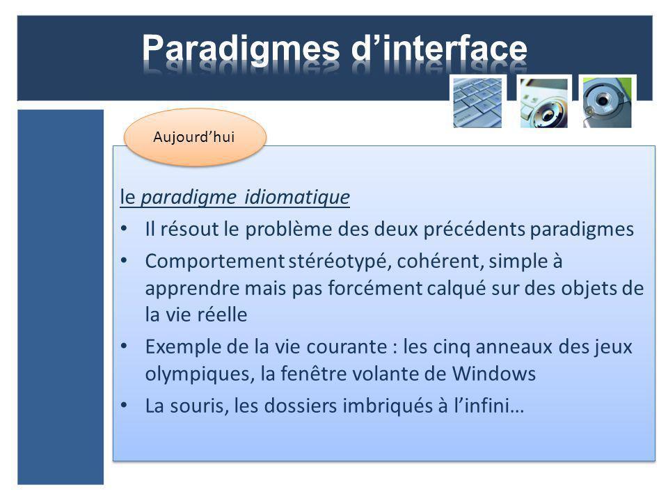 le paradigme idiomatique Il résout le problème des deux précédents paradigmes Comportement stéréotypé, cohérent, simple à apprendre mais pas forcément calqué sur des objets de la vie réelle Exemple de la vie courante : les cinq anneaux des jeux olympiques, la fenêtre volante de Windows La souris, les dossiers imbriqués à linfini… le paradigme idiomatique Il résout le problème des deux précédents paradigmes Comportement stéréotypé, cohérent, simple à apprendre mais pas forcément calqué sur des objets de la vie réelle Exemple de la vie courante : les cinq anneaux des jeux olympiques, la fenêtre volante de Windows La souris, les dossiers imbriqués à linfini… Aujourdhui