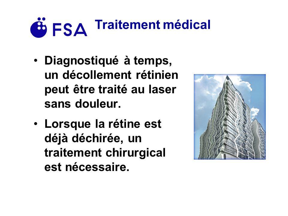 Traitement médical Diagnostiqué à temps, un décollement rétinien peut être traité au laser sans douleur.