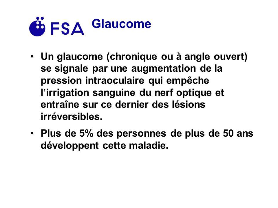 Glaucome Un glaucome (chronique ou à angle ouvert) se signale par une augmentation de la pression intraoculaire qui empêche lirrigation sanguine du nerf optique et entraîne sur ce dernier des lésions irréversibles.