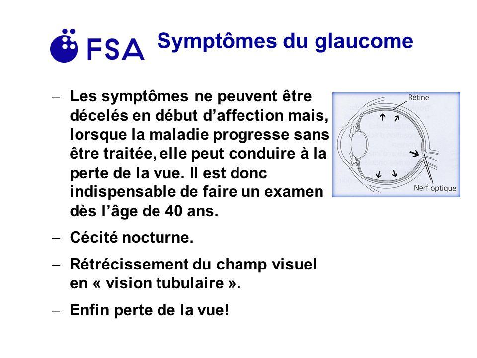 Symptômes du glaucome Les symptômes ne peuvent être décelés en début daffection mais, lorsque la maladie progresse sans être traitée, elle peut conduire à la perte de la vue.