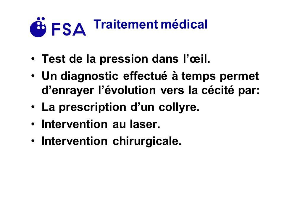 Traitement médical Test de la pression dans lœil.