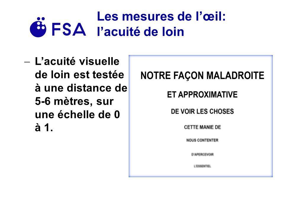 Les mesures de lœil: lacuité de loin Lacuité visuelle de loin est testée à une distance de 5-6 mètres, sur une échelle de 0 à 1.