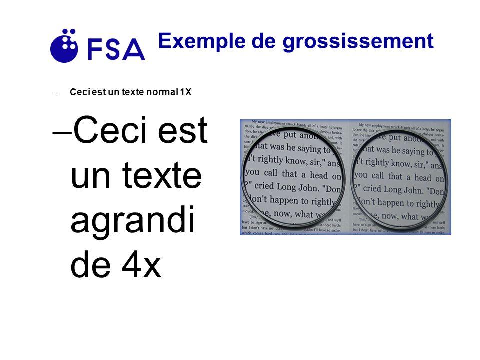 Exemple de grossissement Ceci est un texte normal 1X Ceci est un texte agrandi de 4x