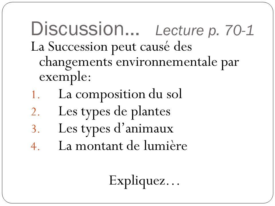Discussion... Lecture p. 70-1 La Succession peut causé des changements environnementale par exemple: 1. La composition du sol 2. Les types de plantes
