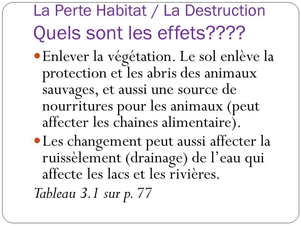 La Perte Habitat / La Destruction Quels sont les effets???? Enlever la végétation. Le sol enlève la protection et les abris des animaux sauvages, et a