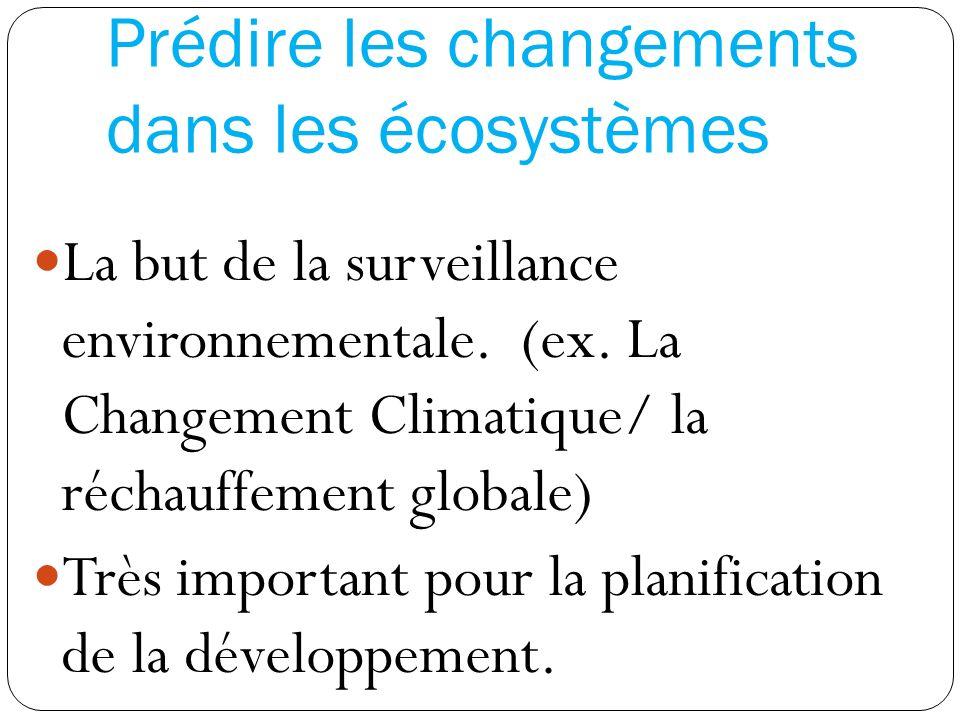 Prédire les changements dans les écosystèmes La but de la surveillance environnementale. (ex. La Changement Climatique/ la réchauffement globale) Très