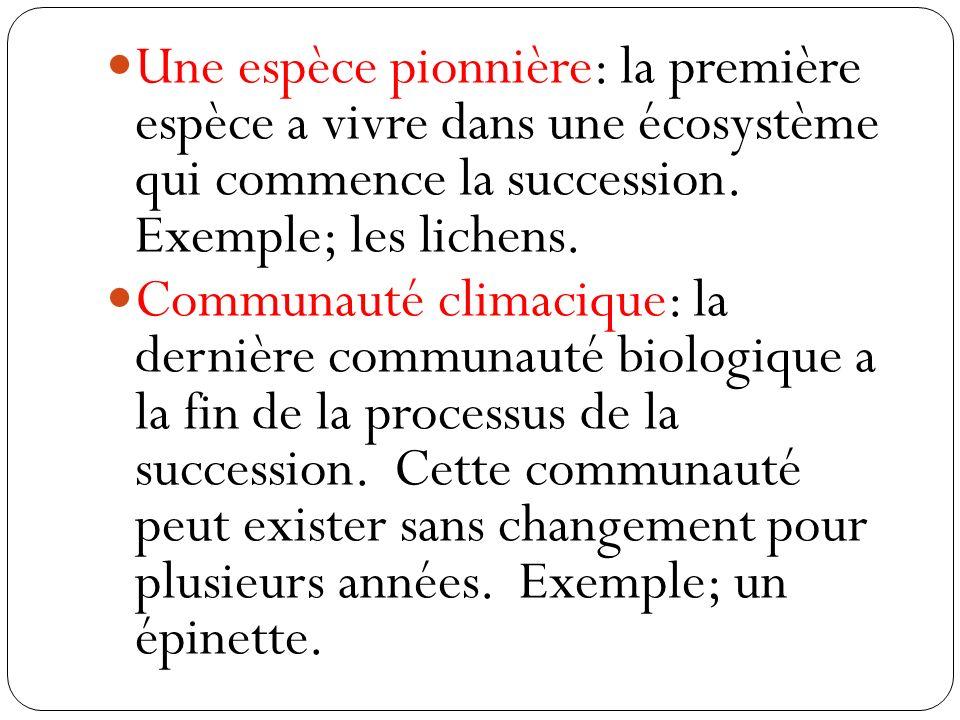 Une espèce pionnière: la première espèce a vivre dans une écosystème qui commence la succession. Exemple; les lichens. Communauté climacique: la derni