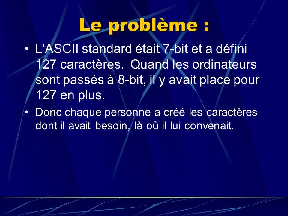 Le problème : L ASCII standard était 7-bit et a défini 127 caractères.