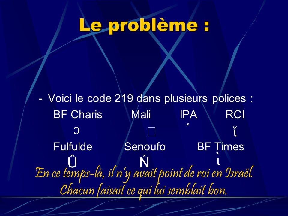 Le problème : -Voici le code 219 dans plusieurs polices : BF Charis Mali IPA RCI Fulfulde Senoufo BF Times ɔ ɩ̌ ÛN ɩ ̀ En ce temps-là, il ny avait point de roi en Israël.