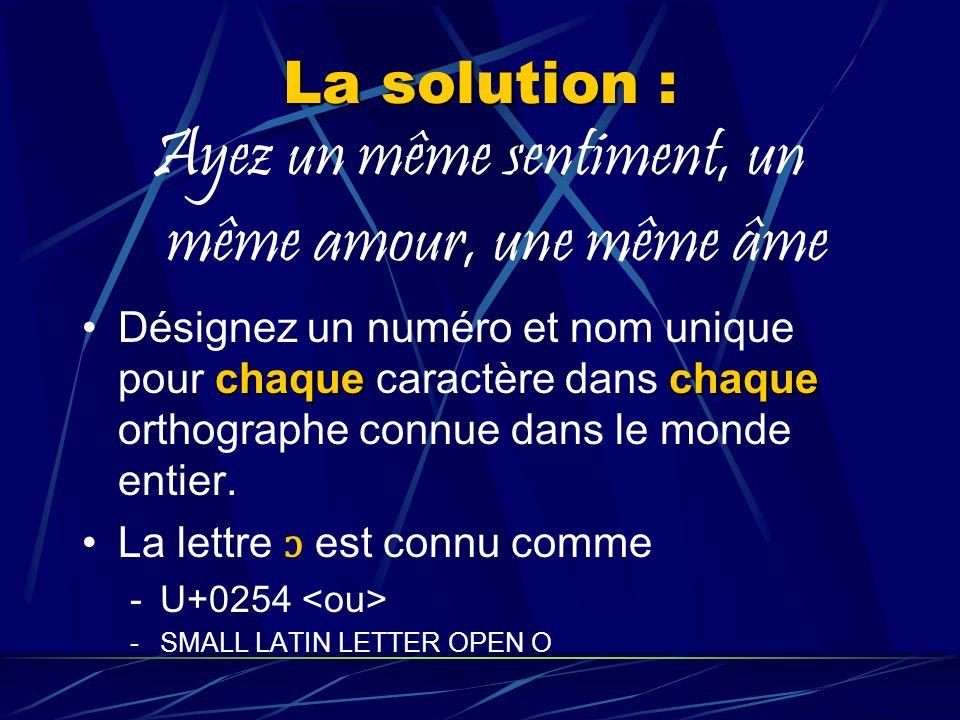 La solution : Ayez un même sentiment, un même amour, une même âme chaquechaqueDésignez un numéro et nom unique pour chaque caractère dans chaque orthographe connue dans le monde entier.